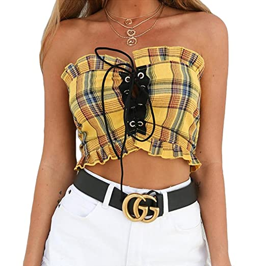 91cb04fbb3 Susupeng Women Strapless Cross Lace Up Plaid Crop Tops Sleeveless Ruffles Tube  Tops (Small