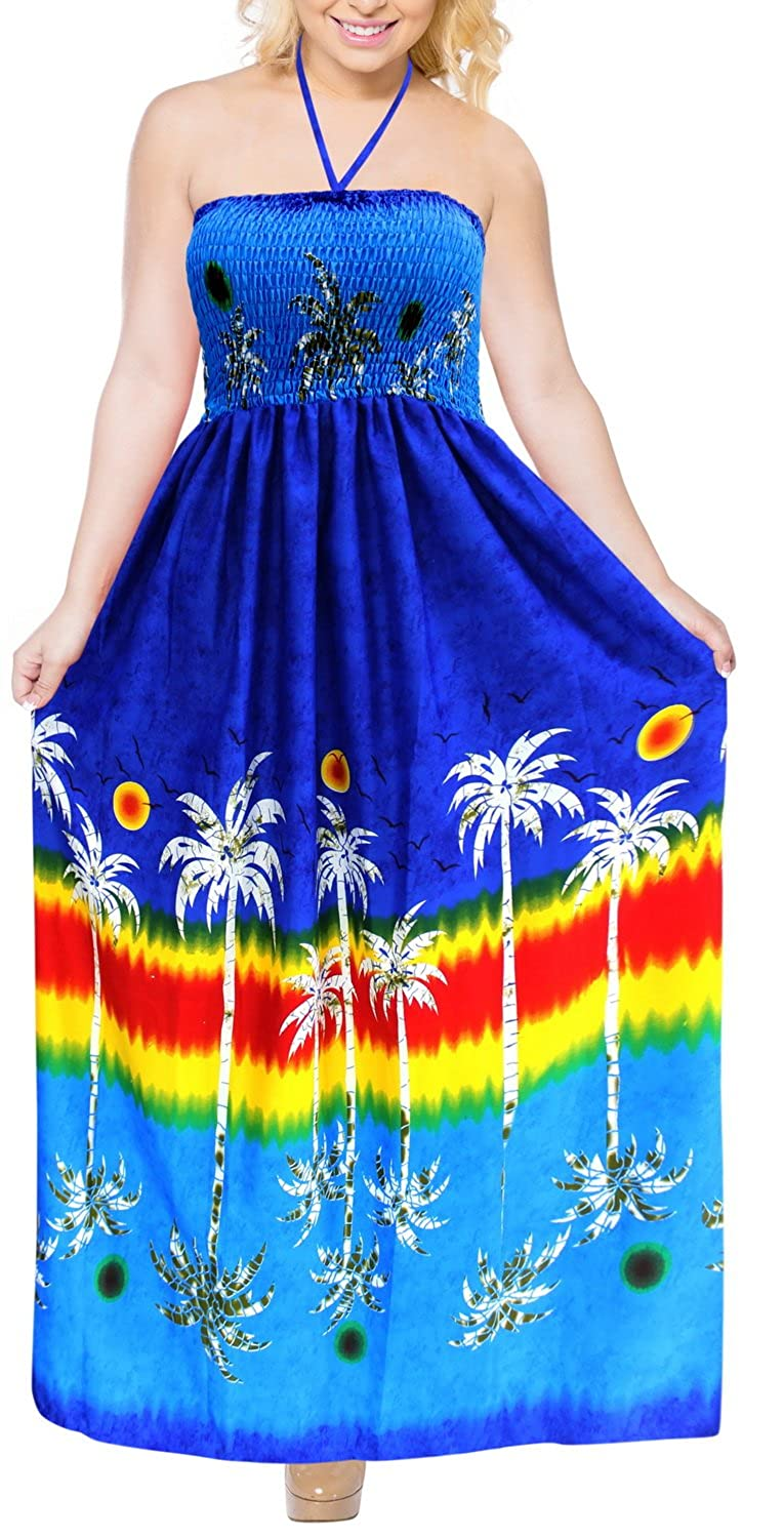 49d8a1a09c8 Halter Boho Tube Dress Maxi Skirt Beach Sundress Backless Evening Party  Swimsuit at Amazon Women s Clothing store