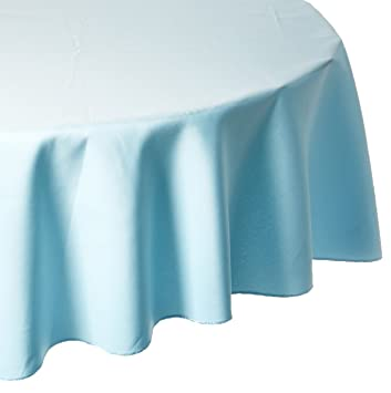 LinenTablecloth 90 Inch Round Polyester Tablecloth Baby Blue