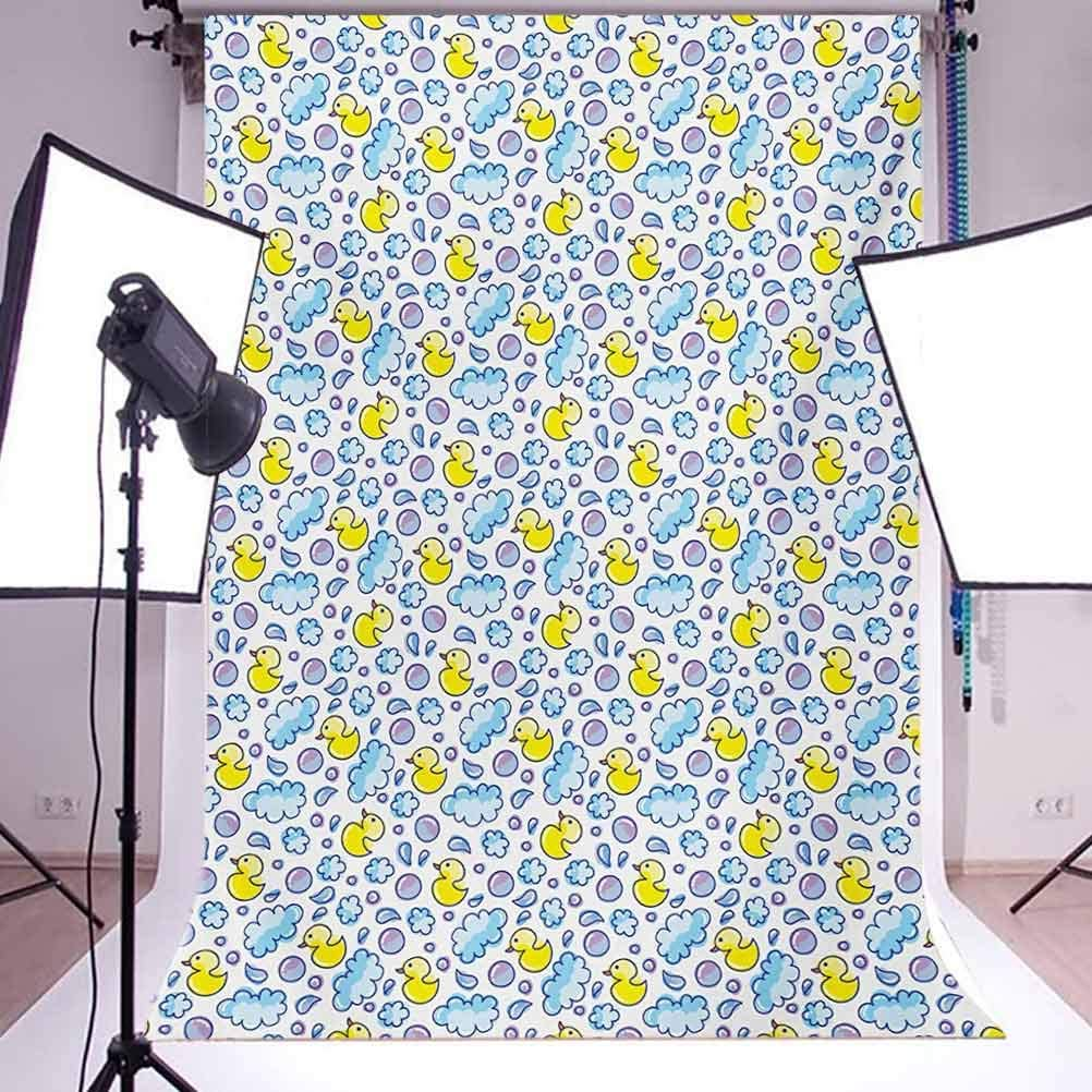 Baby 10x12 FT Photo Backdrops,Washing Time Themed Image with Soap Bubbles Water Droplets Rubber Ducks Pattern Background for Baby Shower Bridal Wedding Studio Photography Pictures Blue Lilac Yellow