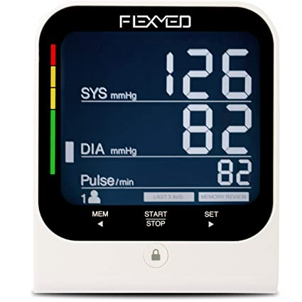 FLEXMED Automatic Digital Blood Pressure Monitor Upper Arm with Large Adjustable Wide Range Cuff High Accuracy Large LCD Back-lit Display 120 Memory ...