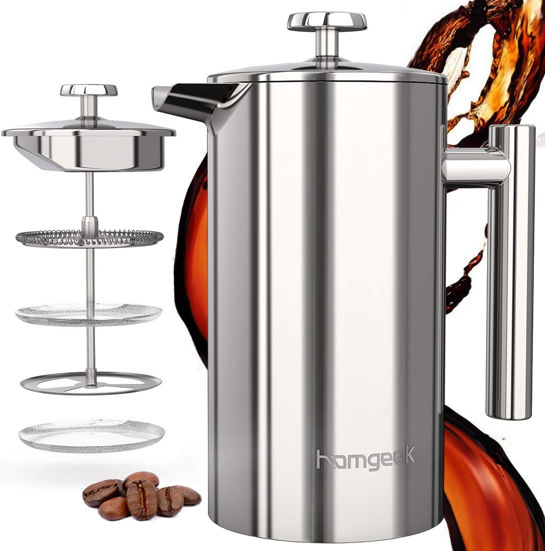 homgeek Cafetière à Piston, Cafetière Design French Press 3 en 1 en Double Paroi Acier Inoxydable, avec Réutilisable Filtre en Acier Inoxydable 304, 1 Litre (1000 ML)