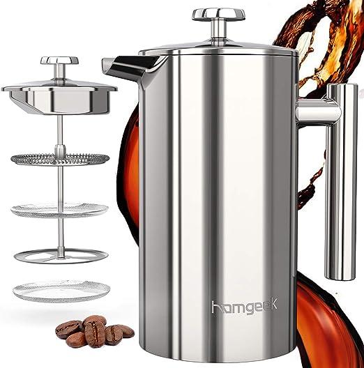 homgeek Cafetera de émbolo de 1 L/8 Tazas, Cafetera Francesa con 3 Horas de Preservación del Calor, de Acero Inoxidable de 304, Cafetera y Tetera para el Hogar y la Oficina, Plata: