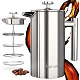 homgeek French Press Coffee Maker,1 Litre Double Wall Stainless Steel, 3-Level Filtration System with 1 Extra Filter