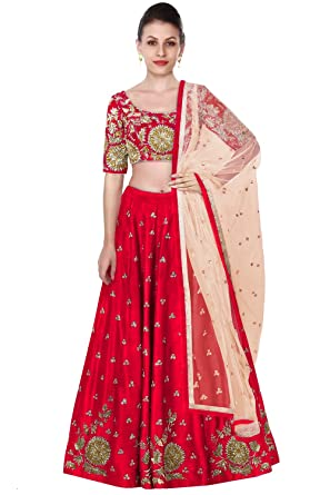 af494a2968 Rozy Fashion red embroidered semi stitched lehenga choli with beige net  dupatta: Amazon.in: Clothing & Accessories