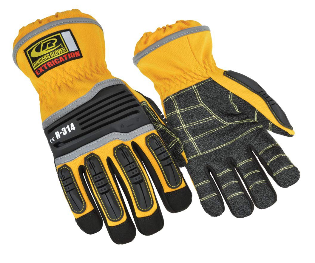 Ringers R-314 Extrication Gloves, Cut Resistant Work Gloves, Yellow, Large