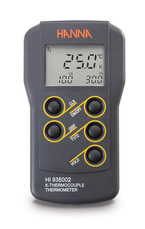 Hanna Instruments hi935002 doble canal termómetro, impermeable termopar -50 a 1350 °C, -58 a 2462 °F, exactitud de + O - 0,2% de escala completa: Amazon.es: ...
