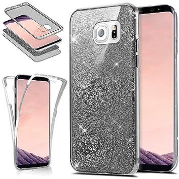 Funda Galaxy S7,Carcasa Galaxy S7,ikasus Brillantes Lentejuelas Estrella Brillo Transparente TPU Silicona 360°Full Body Fundas Skin Cover Carcasa ...