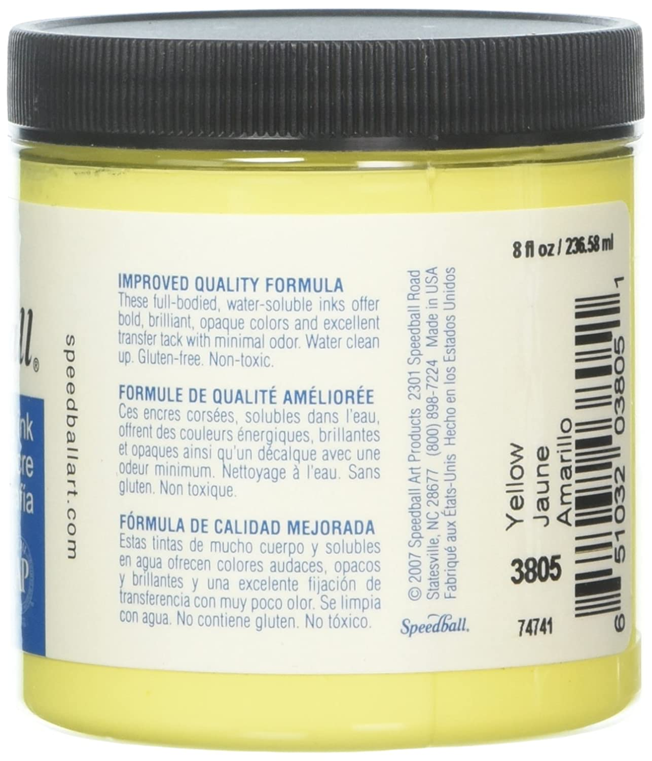 Amazon.com: Speedball 3805 Water-Soluble Block Printing Ink – Bold Color With Satin Finish AP Certified Non-Toxic - 8 FL OZ, Yellow: Arts, Crafts & Sewing