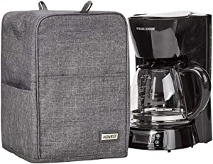 HOMEST Coffee Maker Dust Cover with Accessory Pockets Compatible with Mr. Coffee, BLACK+DECKER, Grey (Patent Pending)