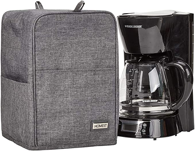 Homeest - Funda para cafetera con bolsillos para accesorios compatible con Mr. Coffee, Black + Decker, color gris ...
