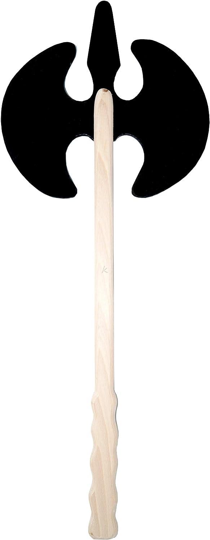 kabemi Axt schwarz Griff Natur Ritteraxt // Holzaxt 56 cm DOPPELAXT Spielzeug // Dekoration