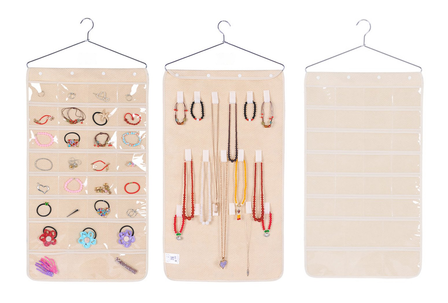 Double Sided Hanging Jewelry Organizer 30 Pockets and 17 Hook and Loops Storage Bag (Beige)