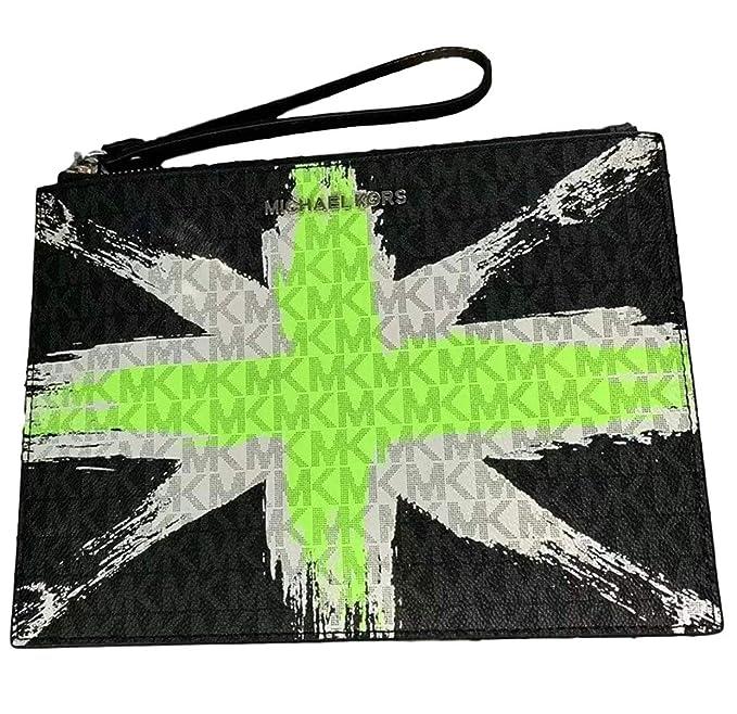 Michael Kors London Signature X-Large Clutch Wristlet - Neon Green