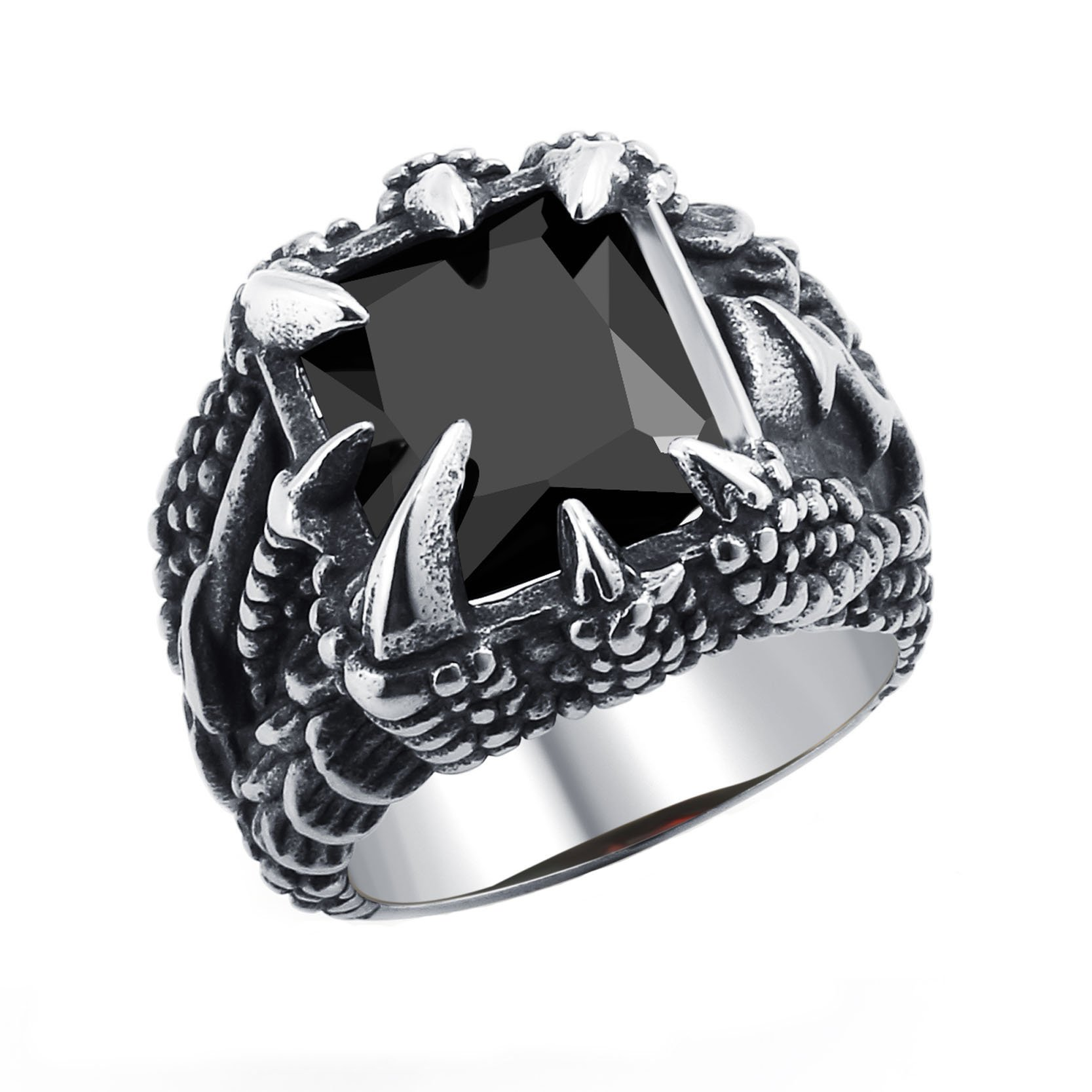 Fashion Dragon Gothic Band with Black Crystal Claw Ring for Men Size 8 Party Jewelry with Gift Box
