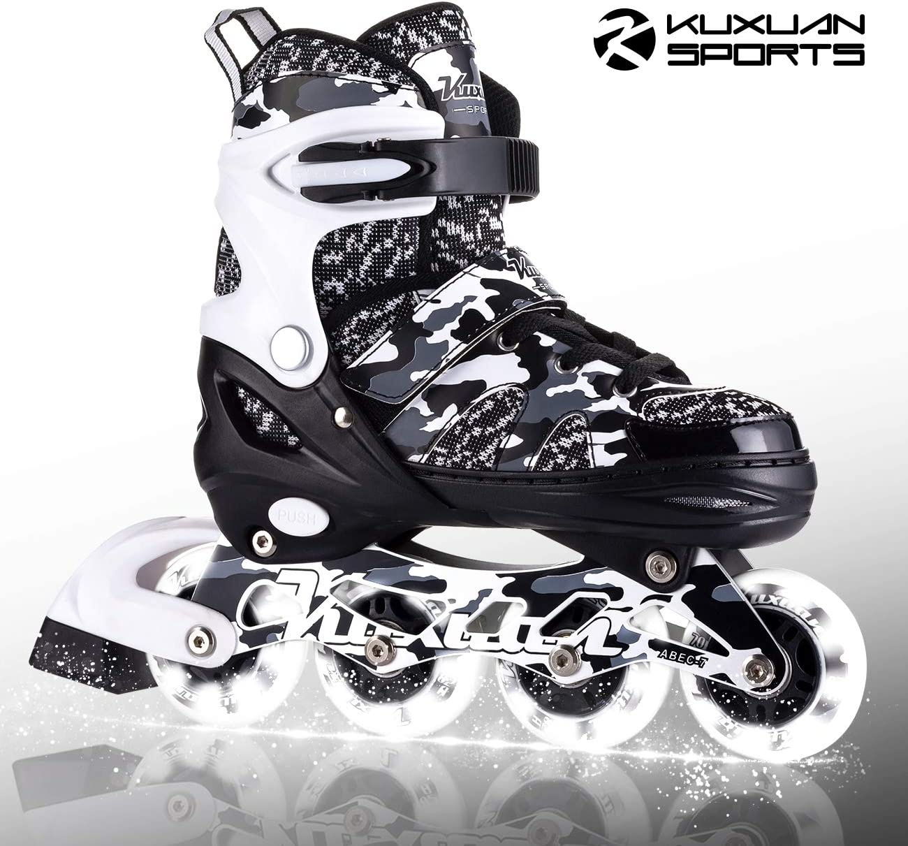 Kuxuan Boys Camo Black Silver Adjustable Inline Skates with Light up Wheels, Fun Illuminating Roller Blading for Kids Girls Youth