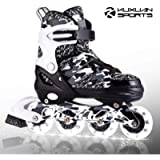 Kuxuan Boys and Girls Camo Adjustable Inline Skates with Light up Wheels, Fun Illuminating Roller Blading for Kids Girls…