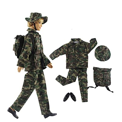 "HongShun Fashion Military Uniform Outfit Top+pants+knapsack+one pairs shoes for 12"" Ken Doll: Toys & Games"