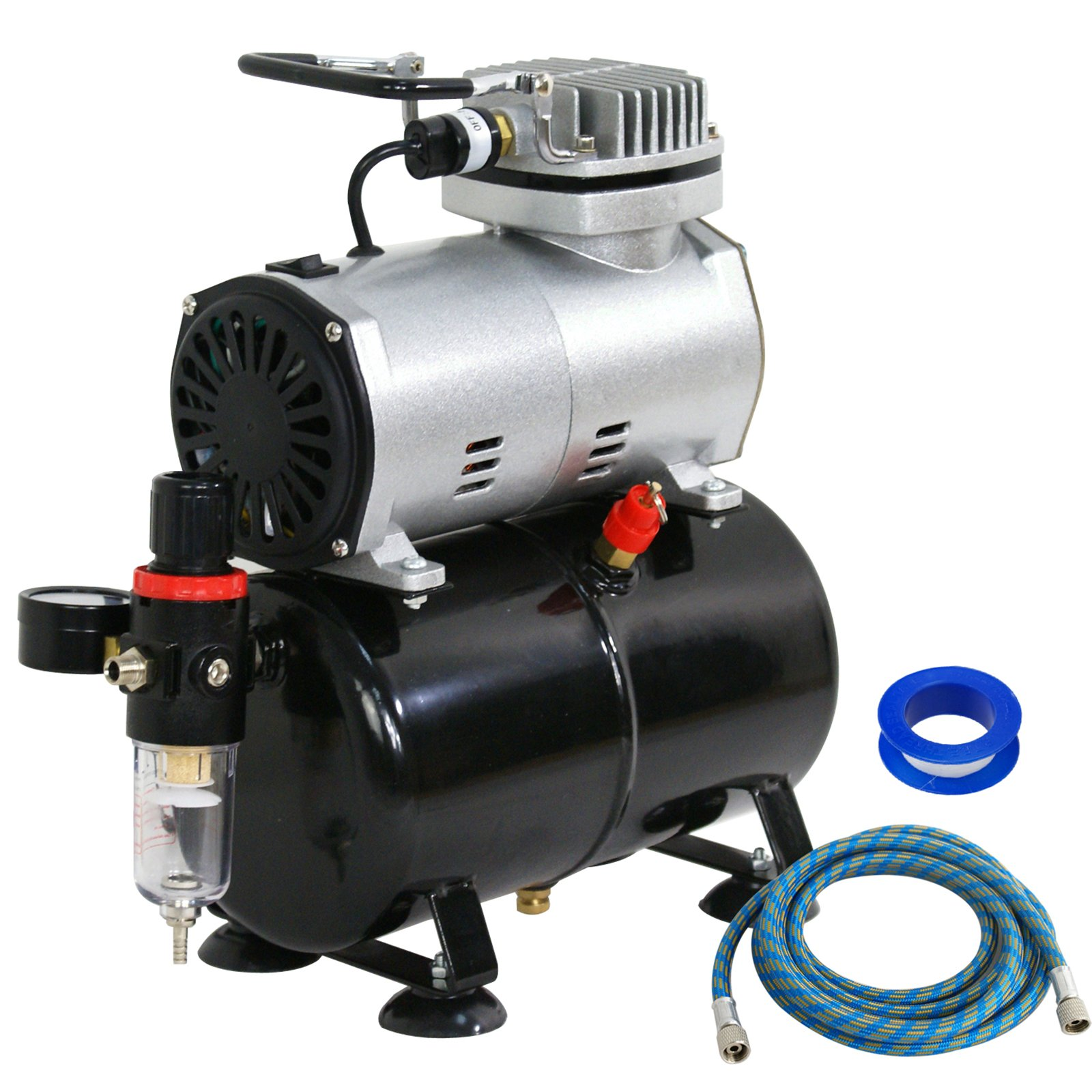 F2C TC-20T 1/5HP Pro Air Compressor Airbrush Kits W/ 6FT Hose and 3L Tank by F2C