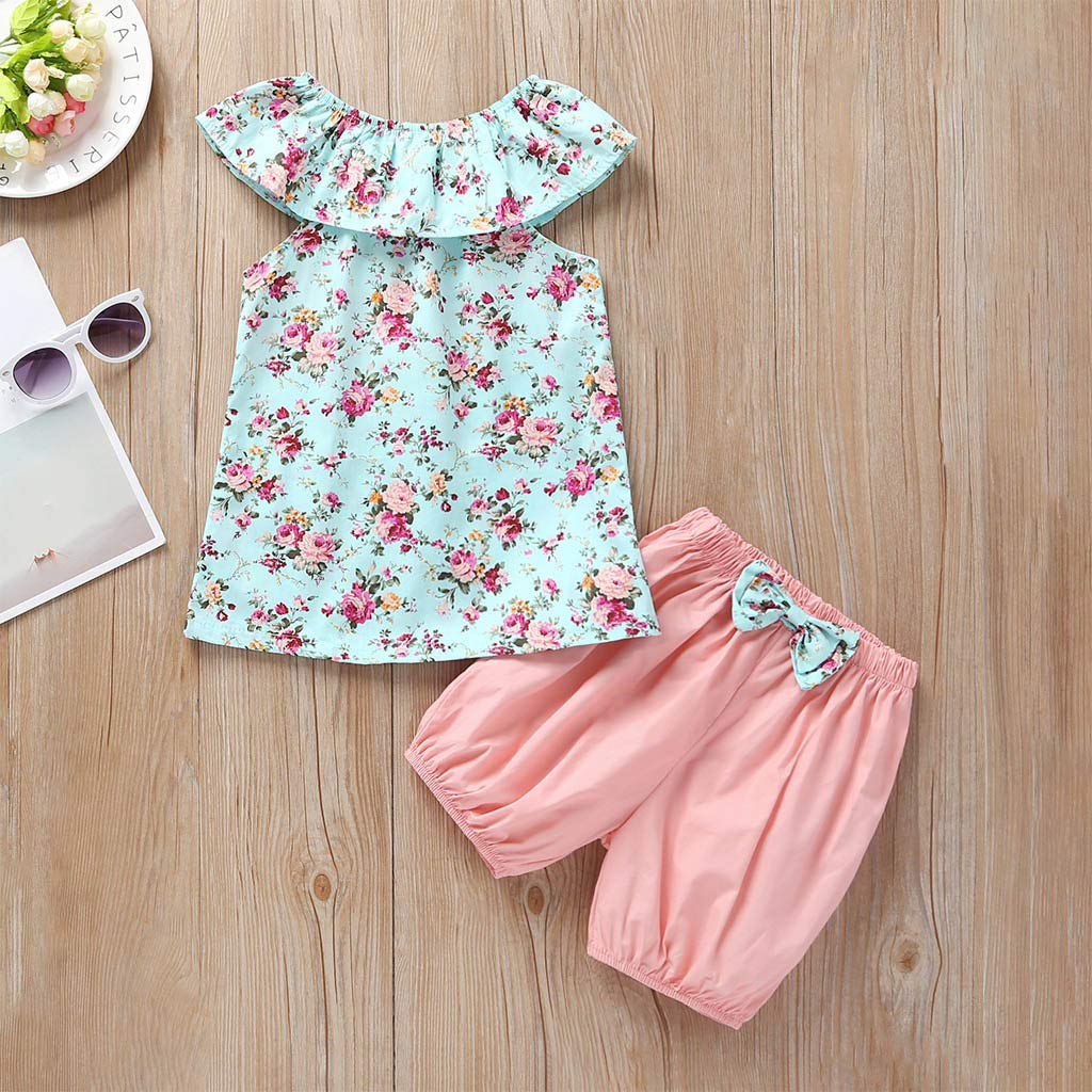 RYGHEWE Toddler Baby Girl Summer Clothes Floral Tops Dress Shorts 3PCS Outfits