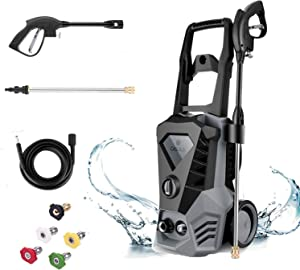 DREAMVAN Electric Pressure Washer, 3500 PSI 2.6 GPM Pressure Washer, Power Washer with 5 Nozzles, 32ft Cable, Detergent Tank, Spray Gun, Ideal for Car, Garden, Home, Driveways