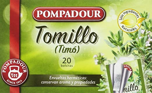 Pompadour Té Infusion Tomillo - 20 bolsitas - [Pack de 5]: Amazon.es: Alimentación y bebidas
