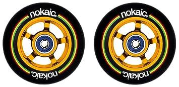 Pack de dos ruedas NOKAIC para patinetes scooters de 100mm núcleo dorado aluminio y goma negra