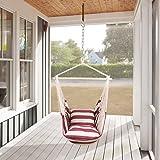 Holifine Hängesessel XL Hängesitz 120 x 150 cm Hängestuhl mit 2 x Kissen und Spreizstab aus Holz, Hängeschaukel Belastbarkeit bis 120 kg - Rot/Weiß Streifen