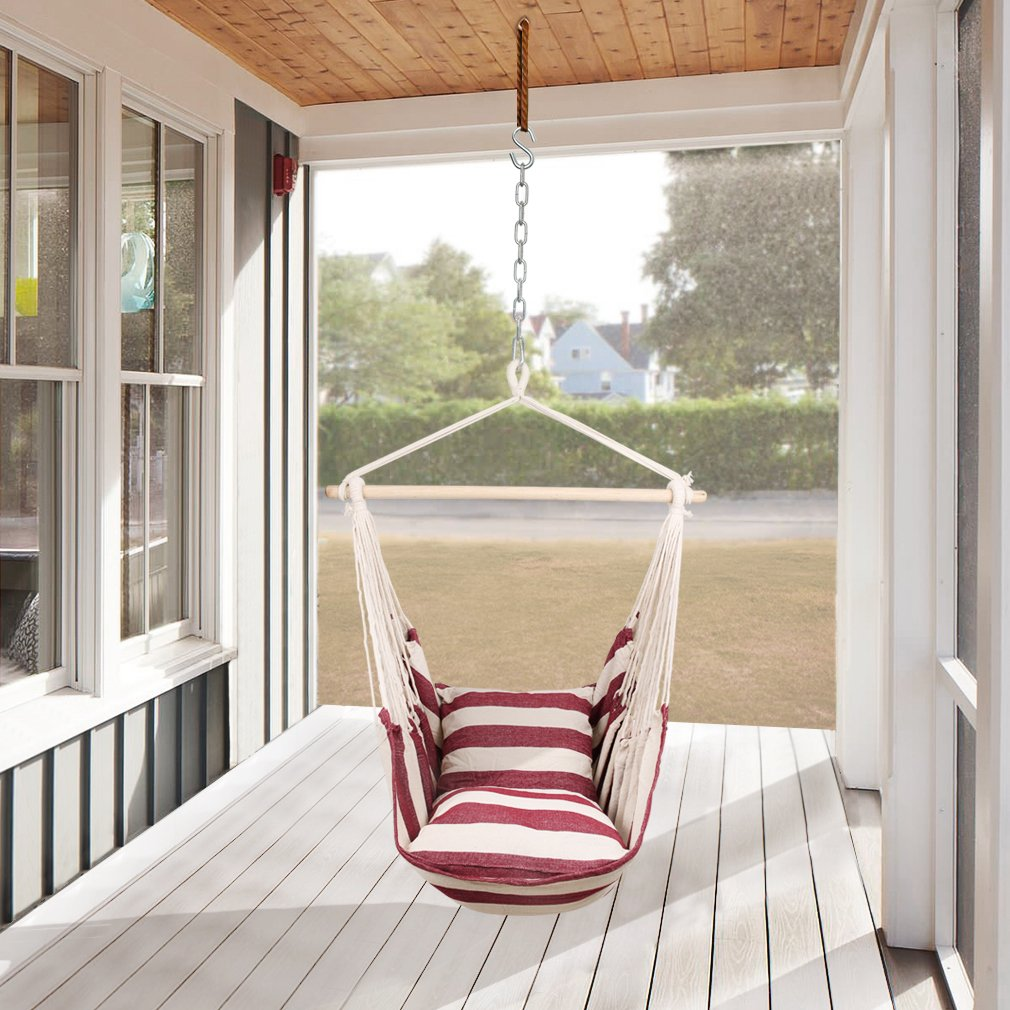 Holifine XL 120 x 150 cm Hanging Hammock Chair Large Hobs Seat Dream Lounger Outdoor Garden Swinging for Courtyard Leisure Anywhere Load Max 120 kg / 265 lbs, 65% Cotton + 35% Polyester - Red and White Stripes