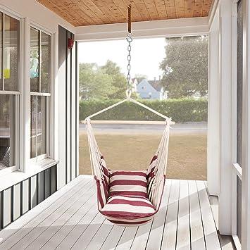 Holifine Hamac Chaise Jardin Balancelle Siège Balançoire Fauteuil Suspendu Soleil Siesta Balcon Terrasse Ikea Relax Camping Avec 2 Coussins
