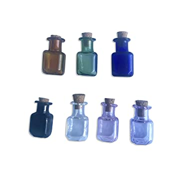 Mini botellas de vidrio color rectangular para botellas con corcho tarros de botellas Regalo Tiny viales Mix 7 colores: Amazon.es: Hogar