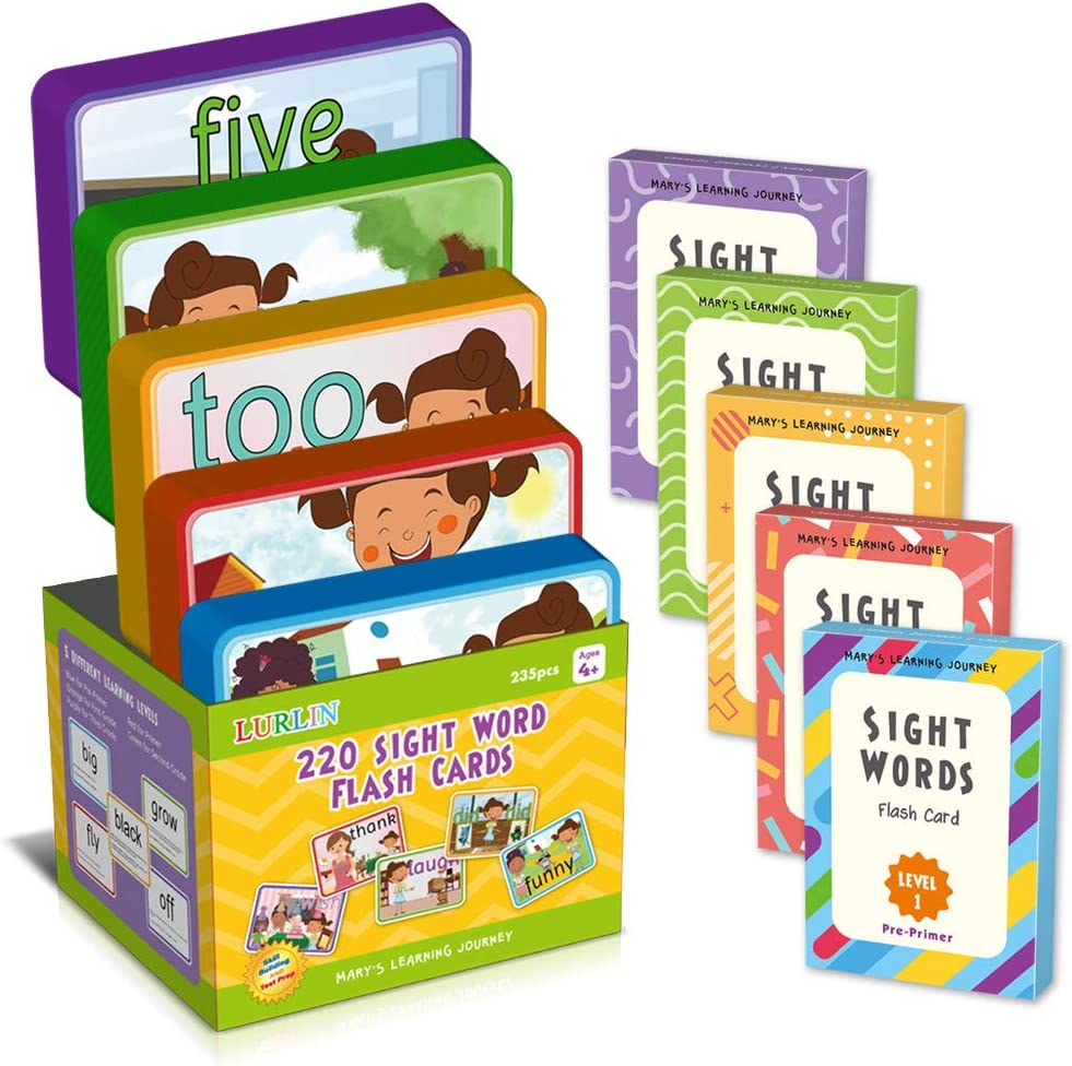Pre K Kindergarten LURLIN Sight Words Flash Cards Set of Learning Word,220 English Learning Sight Words with Characters Scene /& Motion /& Sentences for Age 4,5,6 Years Old 2nd Grade Preschool 1st