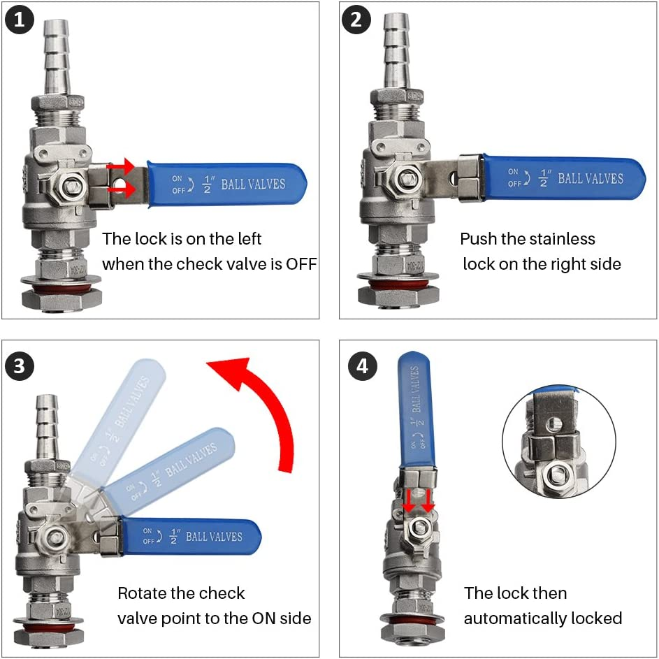 Full Port SS Brewing Kettle Valve 2 Piece OneBom Beer Ball Valve 1//2/'/' Weldless Bulkhead Fitting with 12mm Barb