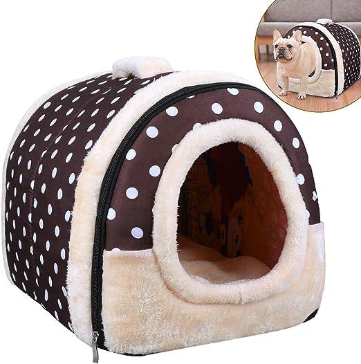 Oferta amazon: OZUAR Cama para perro, 2 en 1, para gato, casa de mascotas y sofá, plegable, para invierno, suave, cálida, cama para perro, cojines extraíbles para gato, perro, cachorro, conejo, café (45x35x35cm)