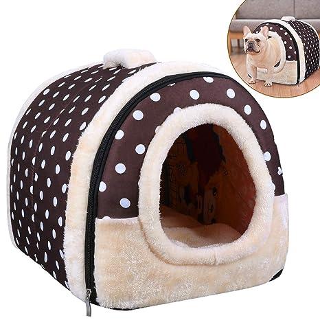 OZUAR Cama para perro, 2 en 1, para gato, casa de mascotas y sofá, plegable, para invierno, suave, cálida, cama para perro, cojines extraíbles para ...