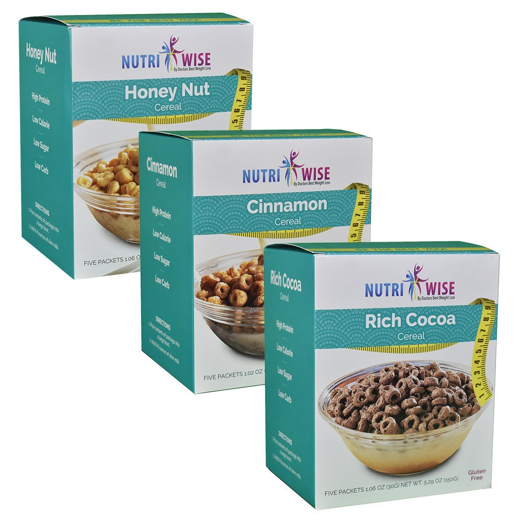 NutriWise - High Protein Diet Cereals | Honey Nut & Rich Cocoa & Cinnamon | Low Calorie, Low Sugar, Low Carb