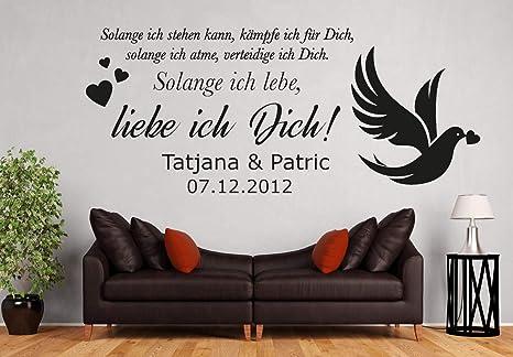 tjapalo® pkm487 Wandtattoo Schlafzimmer liebe Wandtattoo liebessprüche  Wandsticker liebespaar so lange ich lebe Liebe ich Dich mit 2 Wunschnamen  und ...