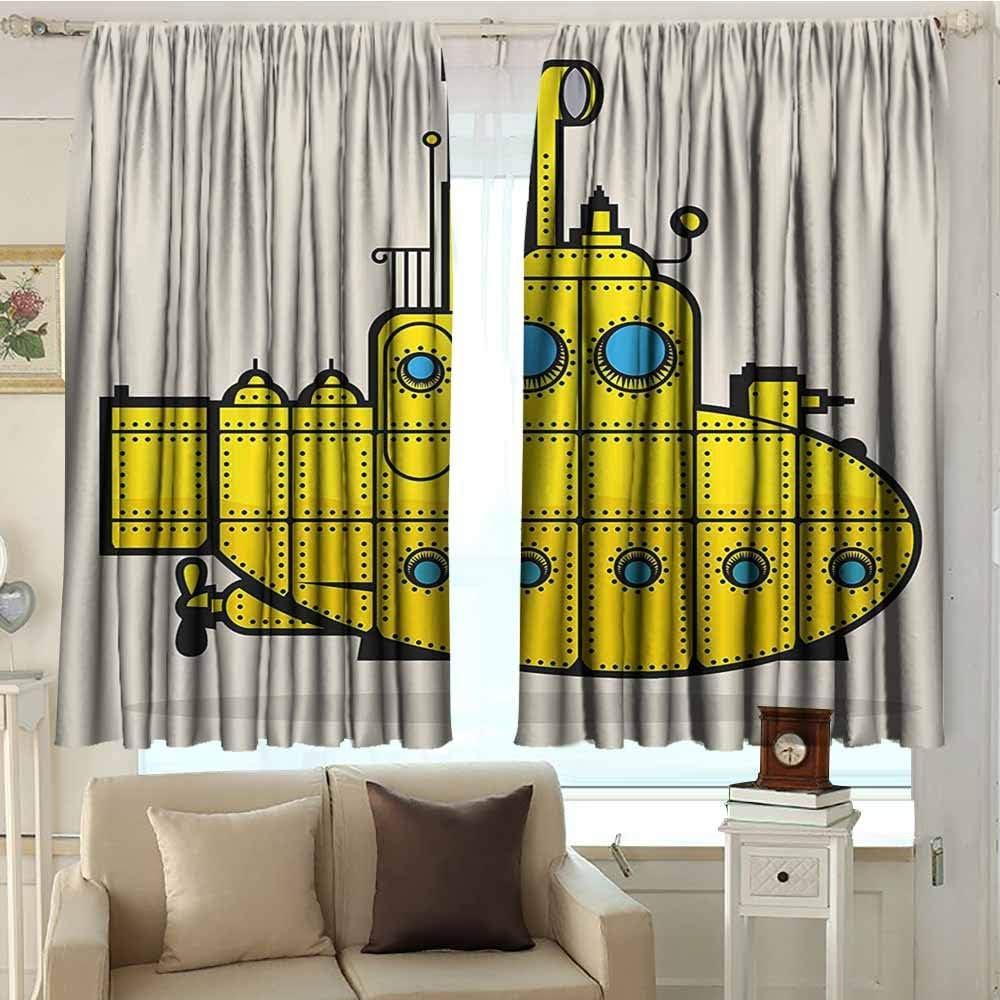 Dabuniu - Cortina para puerta corredera, diseño de submarino amarillo retro con diseño de barco marino de estilo industrial, ideal para salas de estar y dormitorios de 160 x 160 cm, color