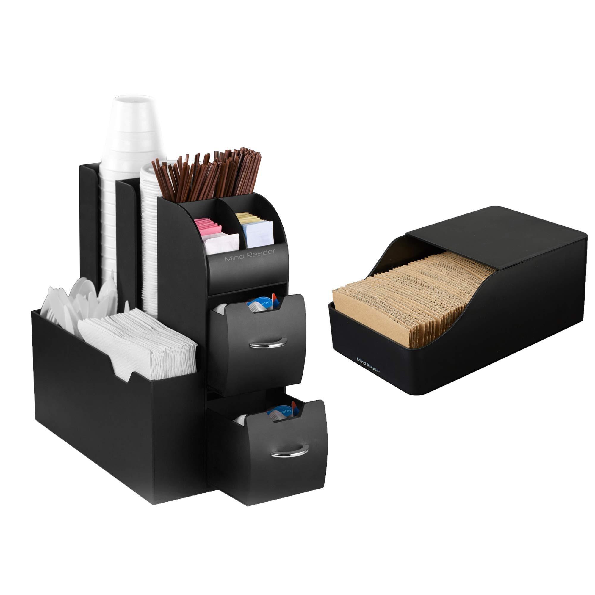 TM Miracle Store Living Room Office Kitchen Organizer Black Coffee Condiment Sleeve Dispenser Storage