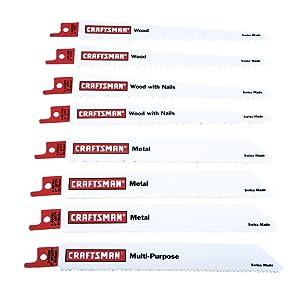 Craftsman 8 pc. Reciprocating Saw Blade Set, Multi-Purpose, 6TPI9-66410