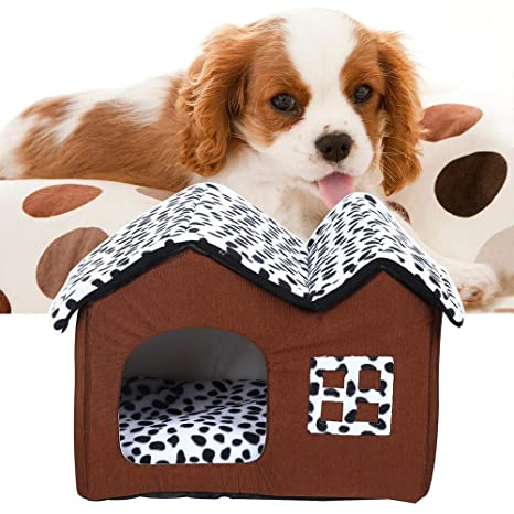 Turefans Casa para Mascotas Desmontable Cama para Perro Pequeño y Gatos Mascota Antideslizante Plegable Suave Calentar