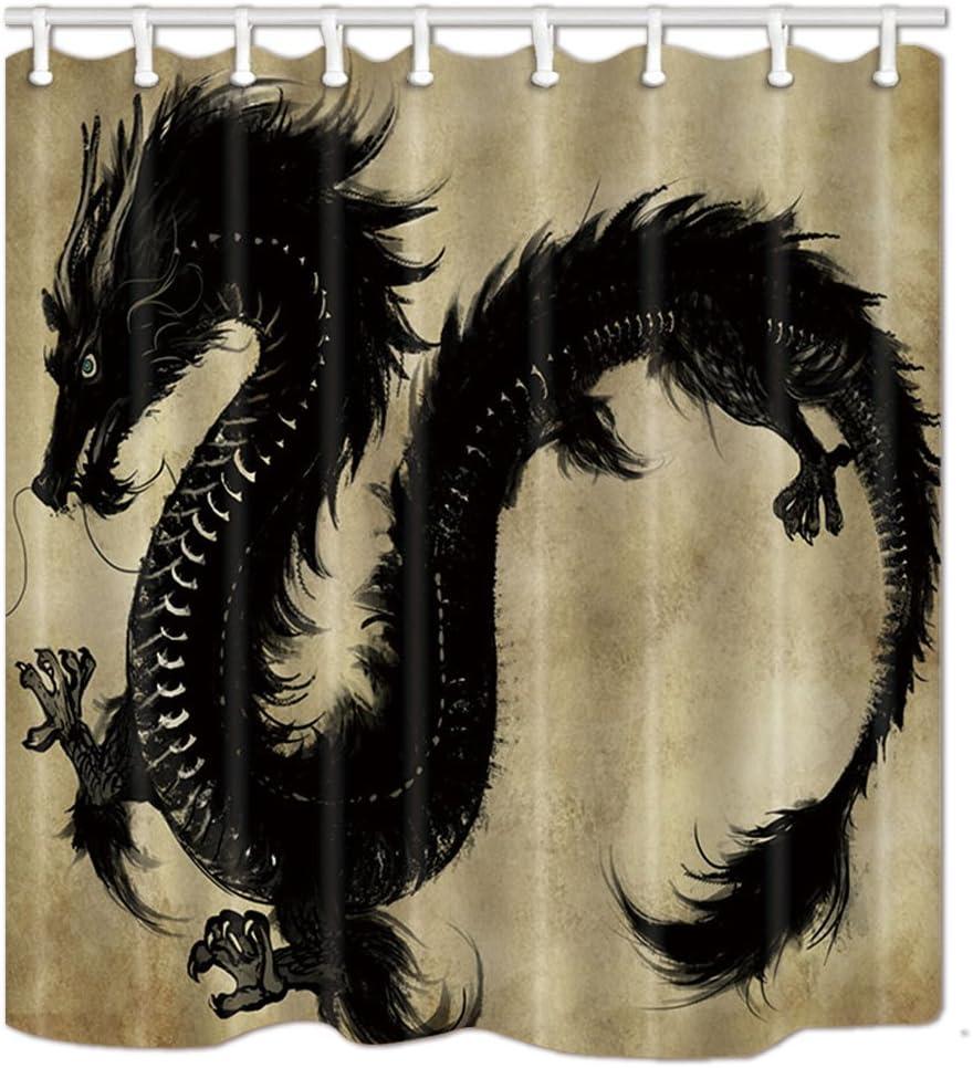 NYMB Fantasy Dragon Shower Curtains Decor, Chinese Mythology Snake Dragon Theme Waterproof Polyester Fabric Shower Curtain Set, Fantastic Decorations Magic Animals Bath Curtain