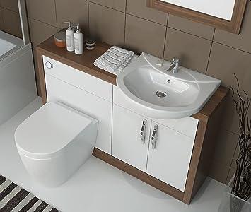 Bathroom City   Luxury Designer Fitted Hacienda Wood Effect Vanity Unit  With Basin, Tap,
