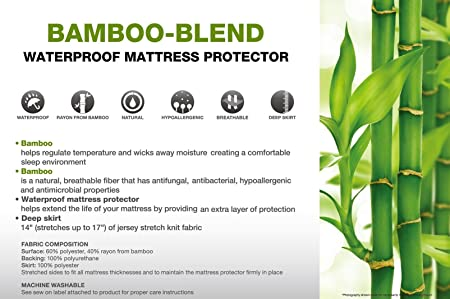 Amazon.com: Golden Linens Hypoallergenic Waterproof Mattress Protector Pad with Stretched Fitted Deep Pocket Breathable Fiber Bamboo, Anti-fungal, ...