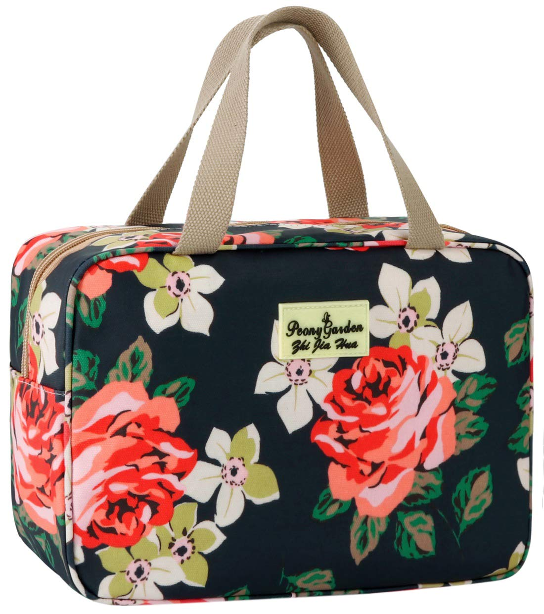 Toiletry Bag for Women Cosmetic Travel Bag Floral Cosmetic Case Large Travel Toiletry Bag for Girls Make Up Bag Navy Blue Brush Bags Reusable Toiletry Bag : Beauty