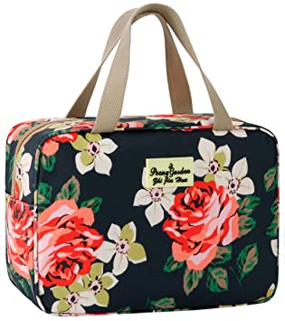 Hanging Toiletry Bag Travel Floral Toiletry Bag with Hook for Women Large Cosmeitc Bag for Toiletries Travel Makeup Bag Dry Wet Separation Design Light Floral