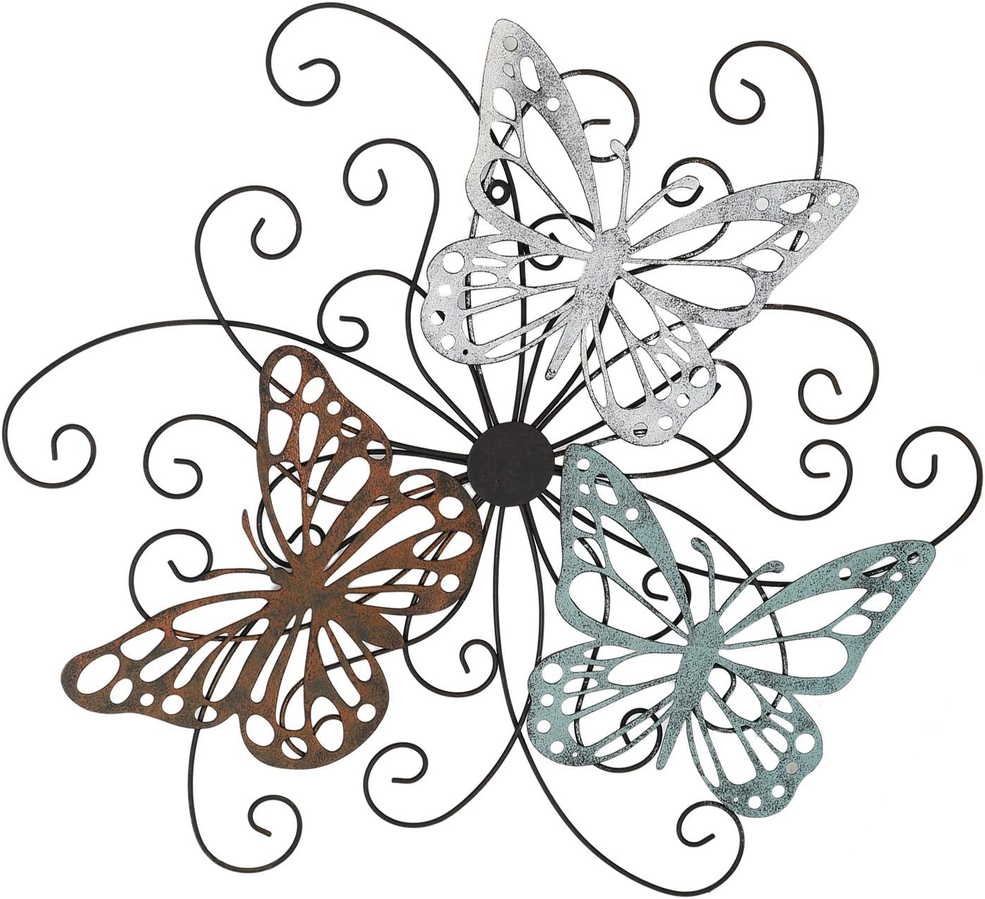 "Adeco Flower and Butterfly Urban Design Decorative Scrolled Metal Wall Decor for Nature Home Art Decoration & Kitchen Gifts, 19.5""x18"" Inches"