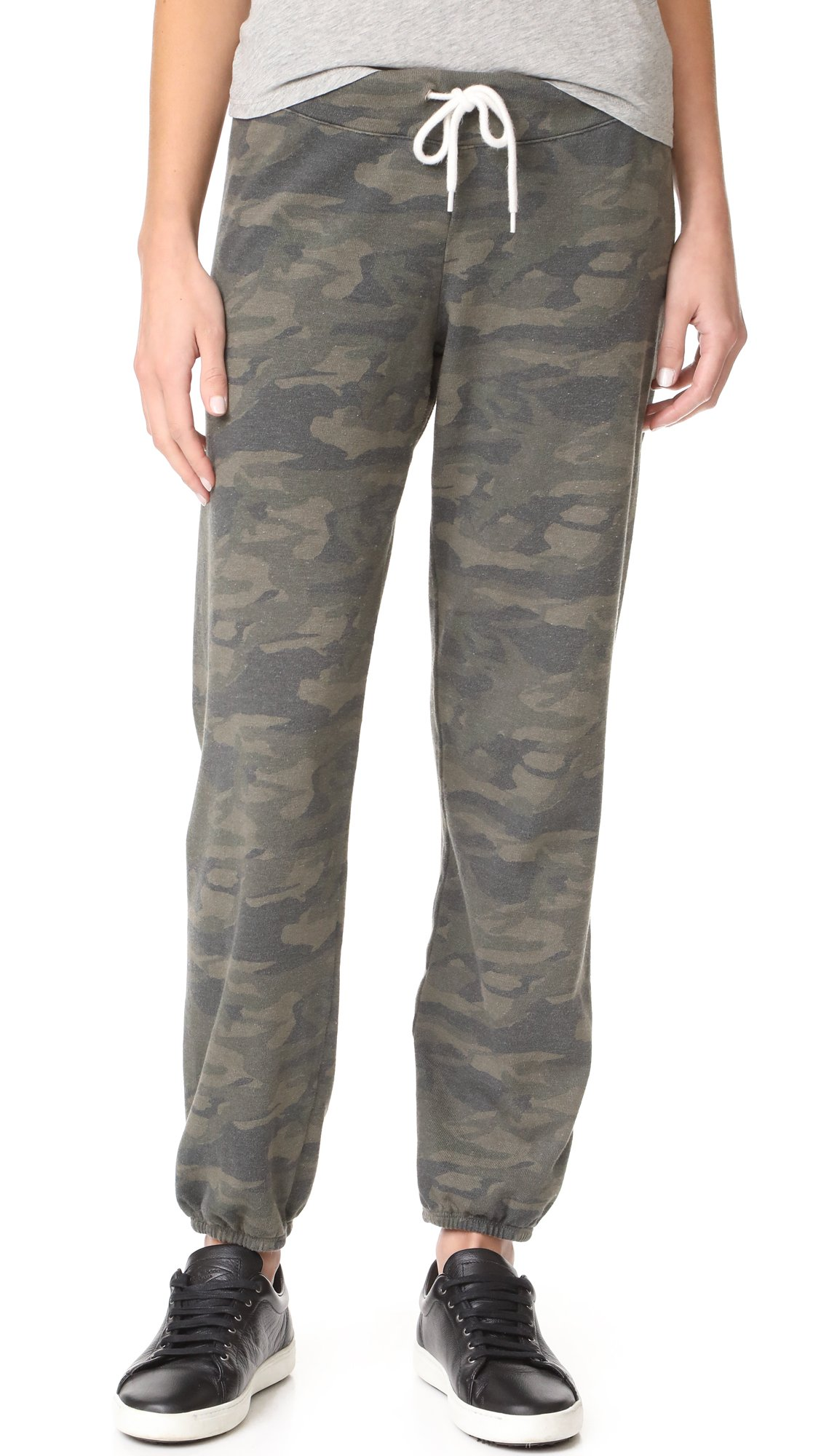 Monrow Women's Camo Print Sweatpants, Hunter, Large