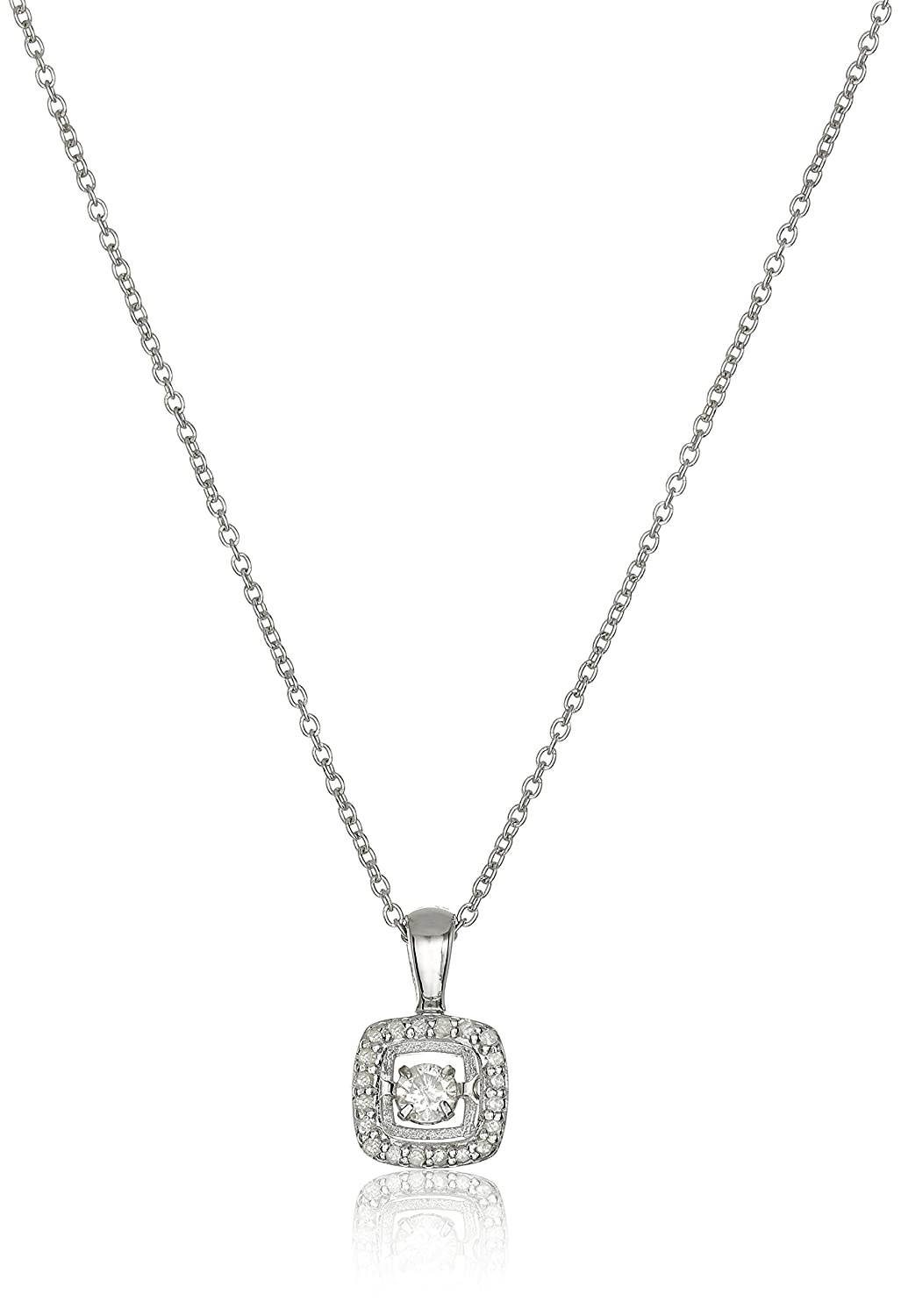 """Sterling Silver and Diamond Square Dancing Pendant Necklace (1/5cttw, I-J Color, I3 Clarity), 18"""""""