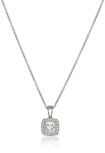 Amazon sterling silver and diamond square dancing pendant sterling silver and diamond square dancing pendant necklace 15cttw i j color aloadofball Choice Image